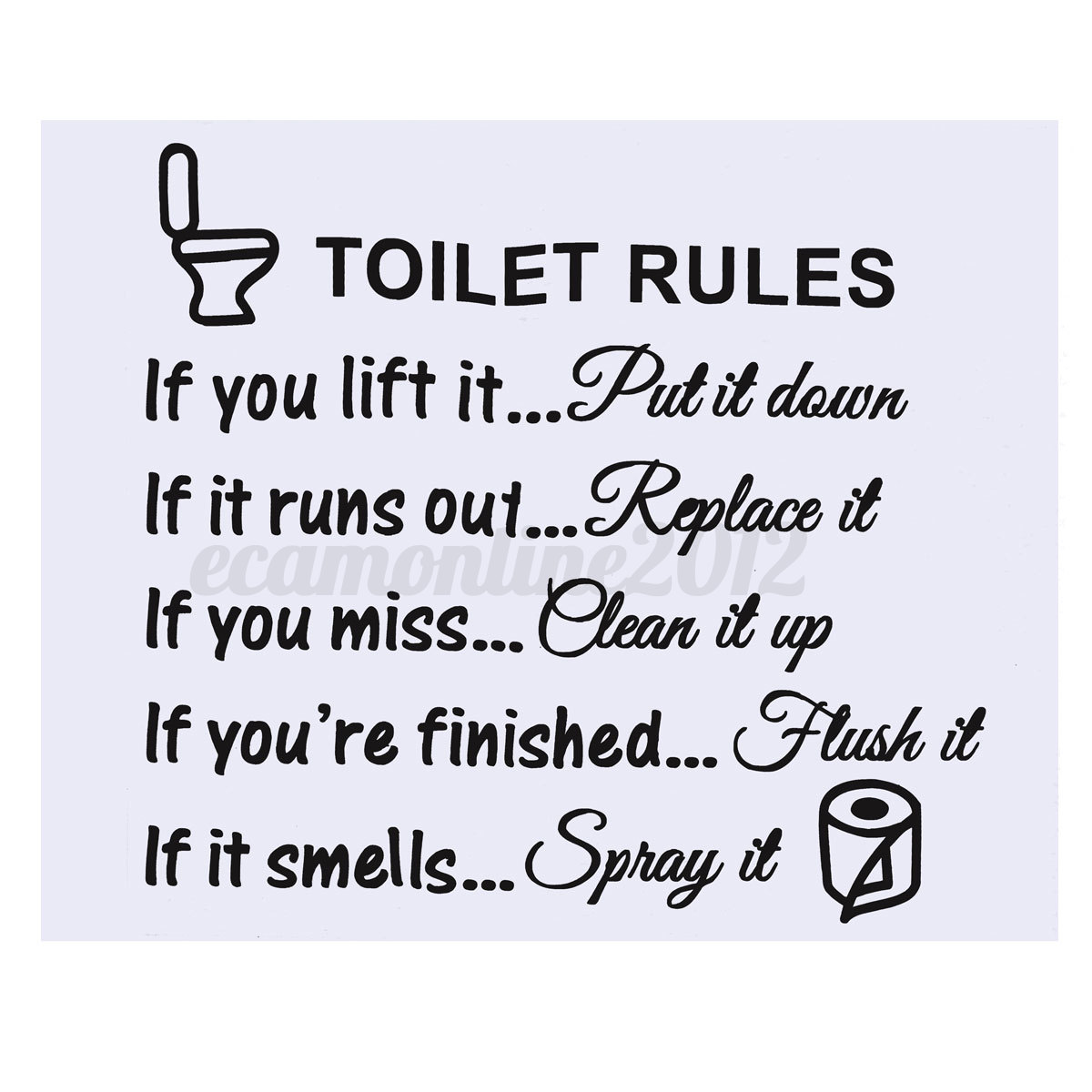 Toilet rules wall sticker vinyl art decal bathroom for Bathroom quotes svg