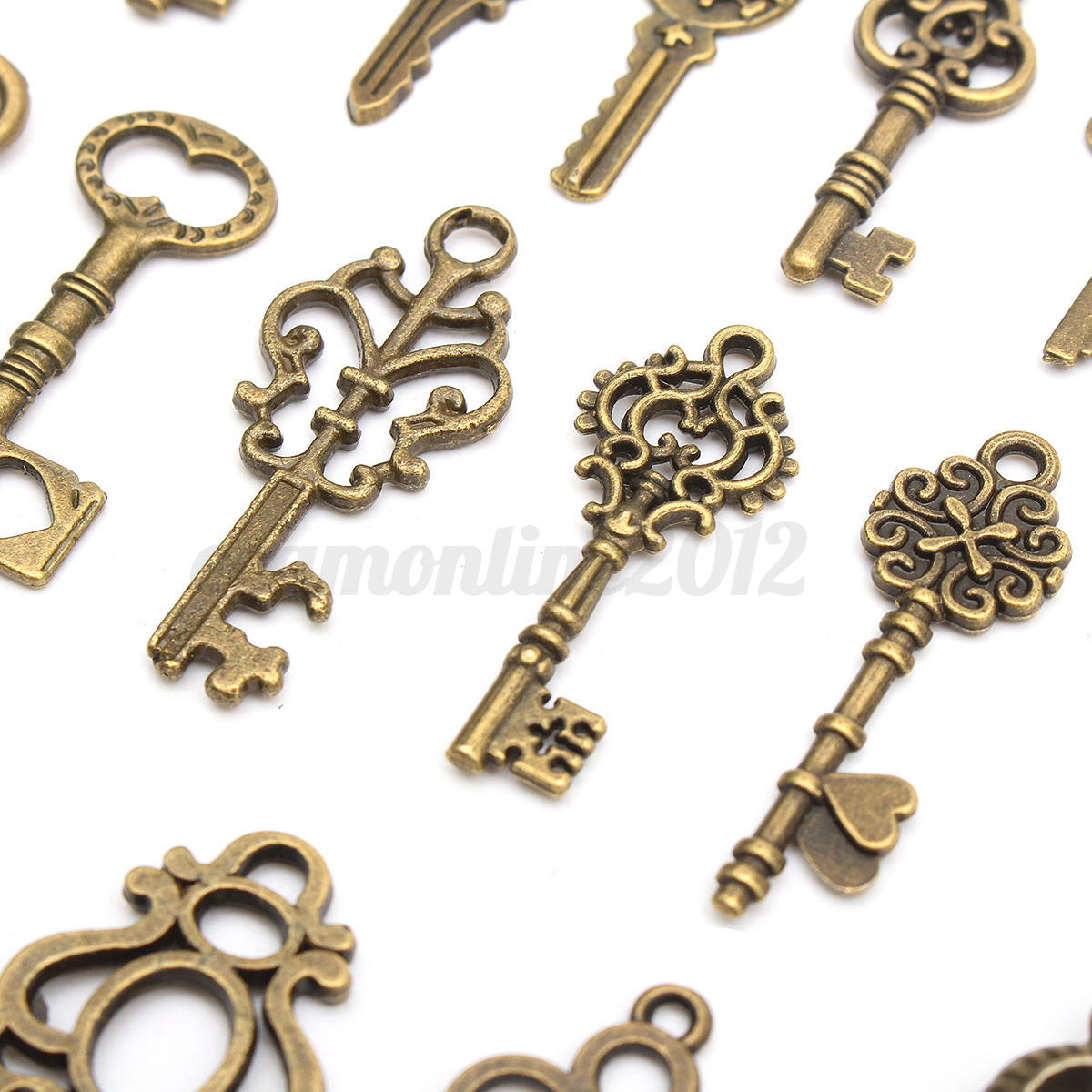 Set of 20 Antique Vintage Old Look Bronze Skeleton Keys Fancy Heart Bow Pendant 5