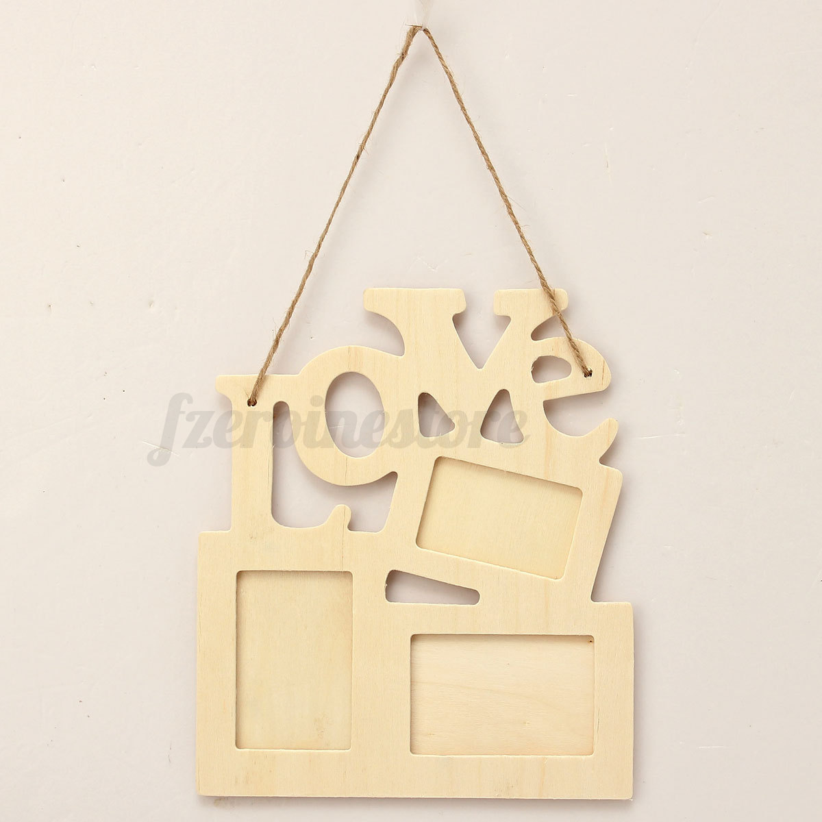 Diy wooden love polaroid photo frame clip wall art hanging for Photo clip wall frame