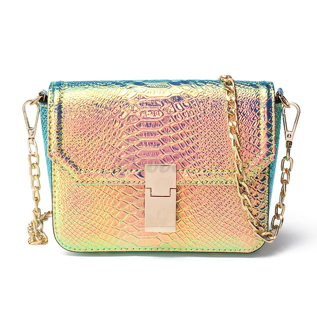 Fashion Women Holographic Laser Print PU Leather Purse Crossbody Shoulder Bag