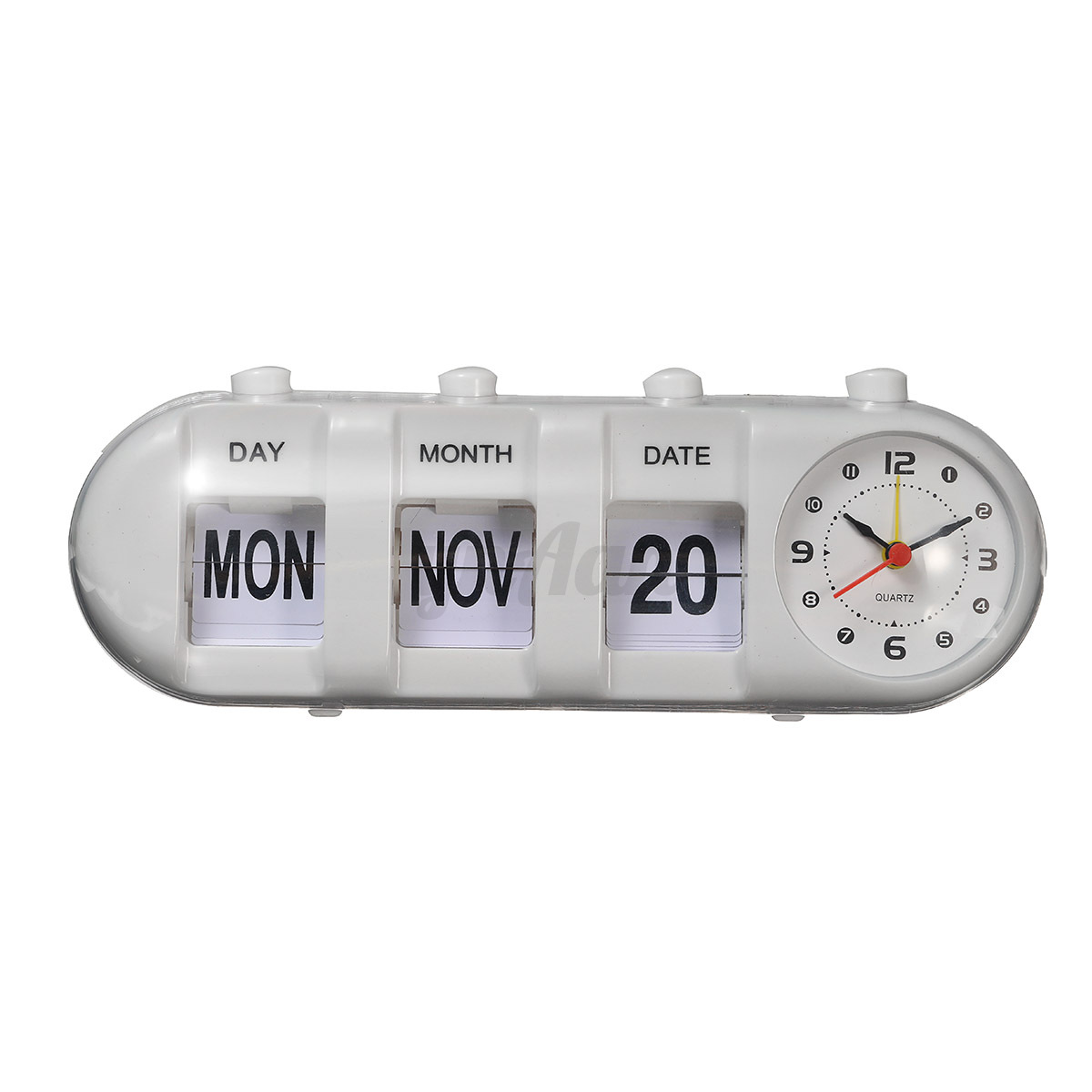 retro flip digital quartz desk alarm clock day date calendar time display. Black Bedroom Furniture Sets. Home Design Ideas