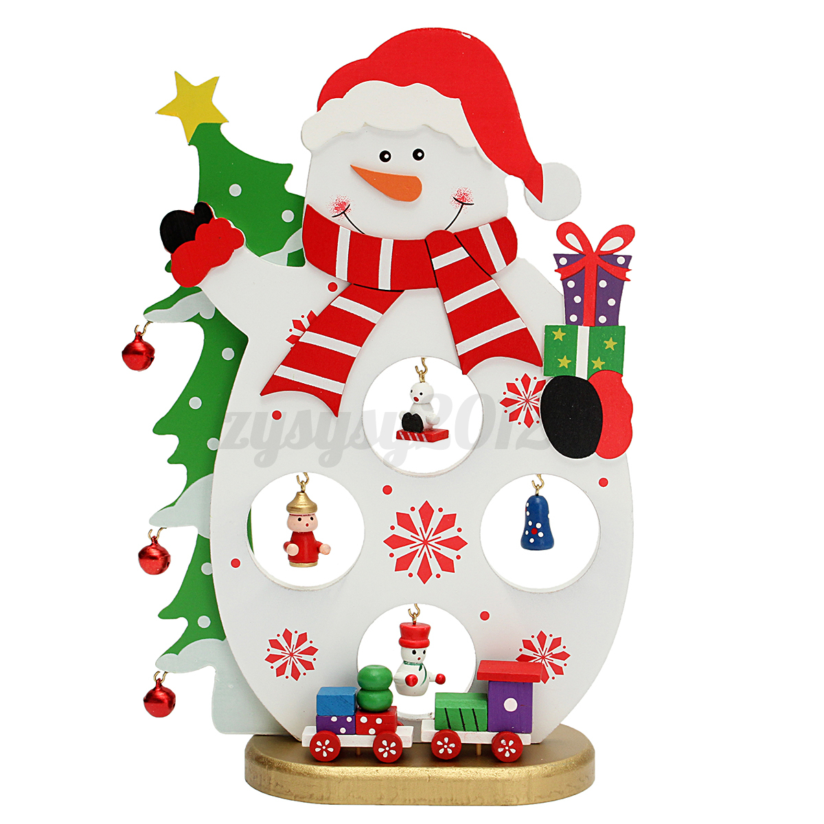 Santa Claus Decorations Uk: Wooden Christmas Tree Santa Claus Ornaments Desk Table