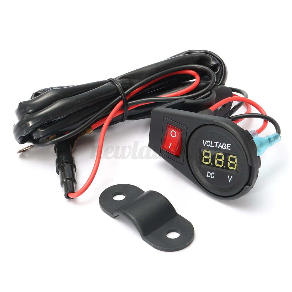 Motorcycle Digital Meter : V or motorcycle led digital display voltmeter