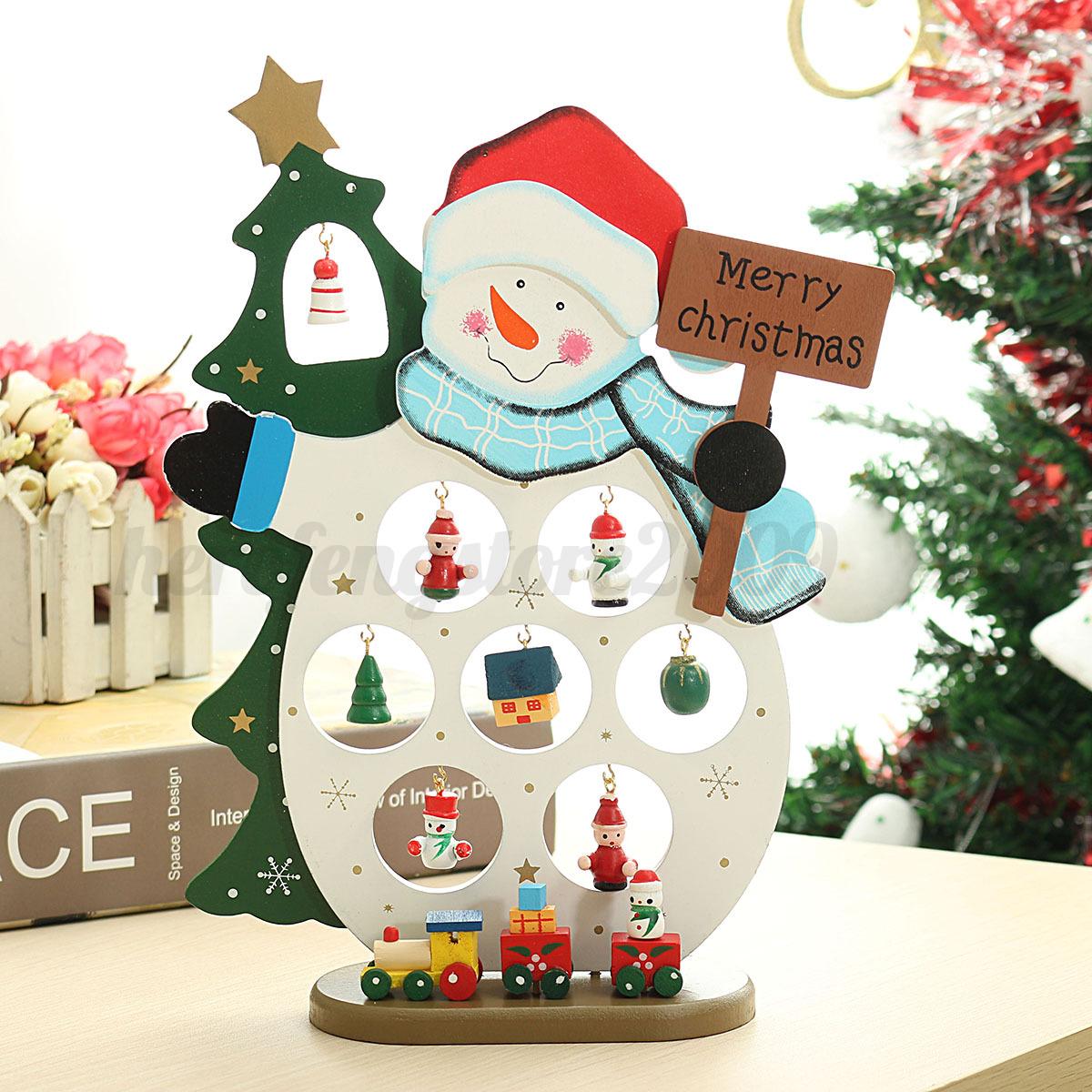 Wooden Snowman Santa Christmas Decoration Diy Assembling Home Decor Xmas Gift Ebay