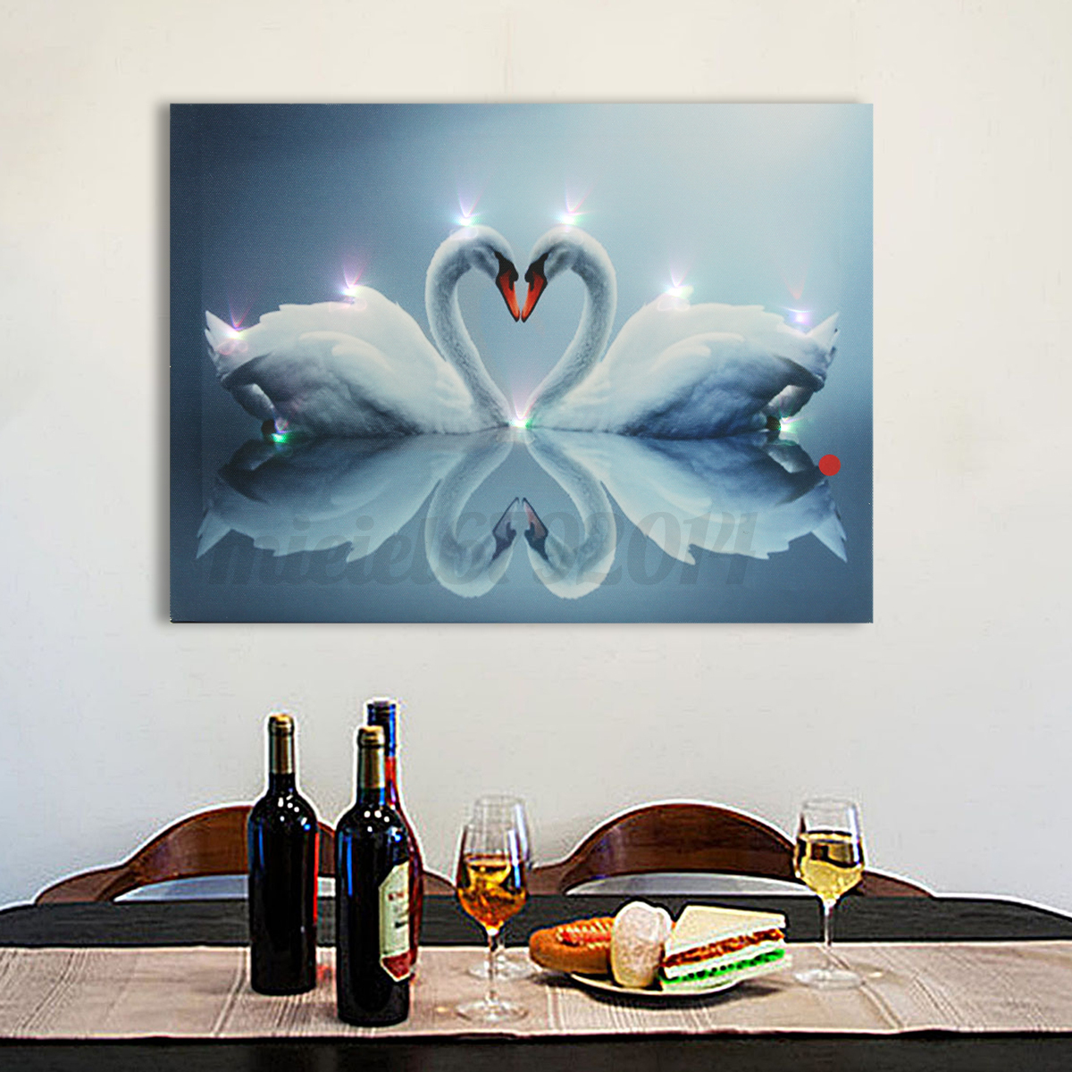 Love Led Wall Decor : Led light up christmas love swan canvas print picture wall