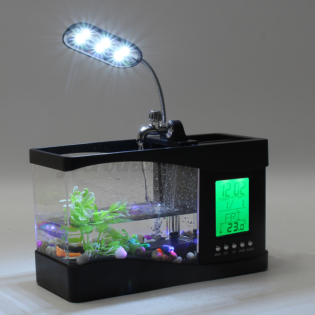 Mini usb desktop aquarium fish tank alarm clock table lamp for Desktop fish tank