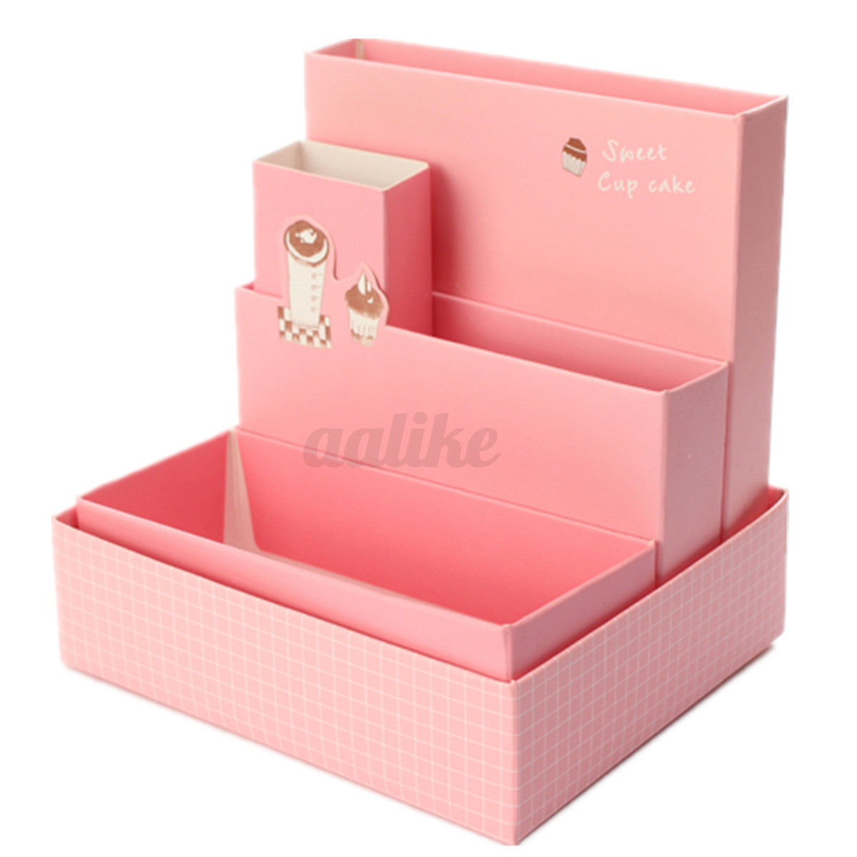 Diy paper board storage box stationery makeup cosmetic organizer desk decor easy ebay - Desk stationery organiser ...
