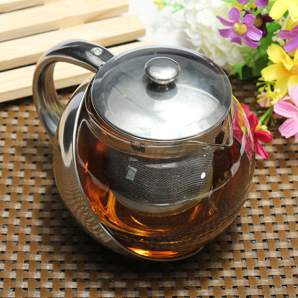 750 1100ml stainless steel glass teapot with loose leaf. Black Bedroom Furniture Sets. Home Design Ideas
