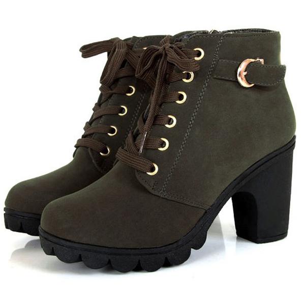 Mujer-Botas-Hasta-Tobillo-De-Invierno-Plataforma-Tacon-Alto-Nieve-Piel-Zapatos
