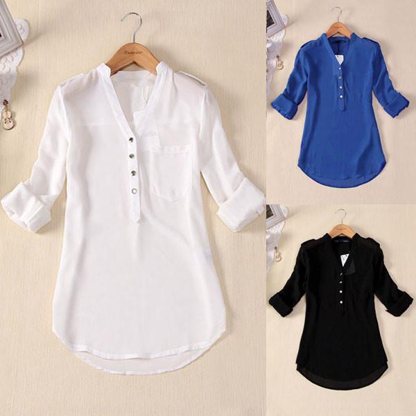 95477d6e483f3 Womens V Neck Long Sleeve Chiffon Summer Casual Solid Top Shirt ...