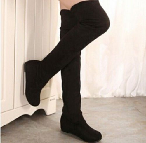 Fashion-Women-Over-Knee-Long-Boots-Stretchy-Platform-Suede-Flat-Thigh-High-Boots