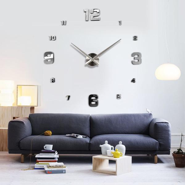 Modern 3d Diy Wall Clock Large Number Home Decoration Living Room Bedroom Decor Ebay