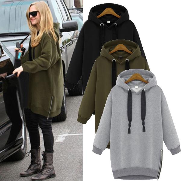 37127dcfaf4 UK Womens Winter Plus Zipper Hooded Warm Sweatshirt Hoodies Baggy ...