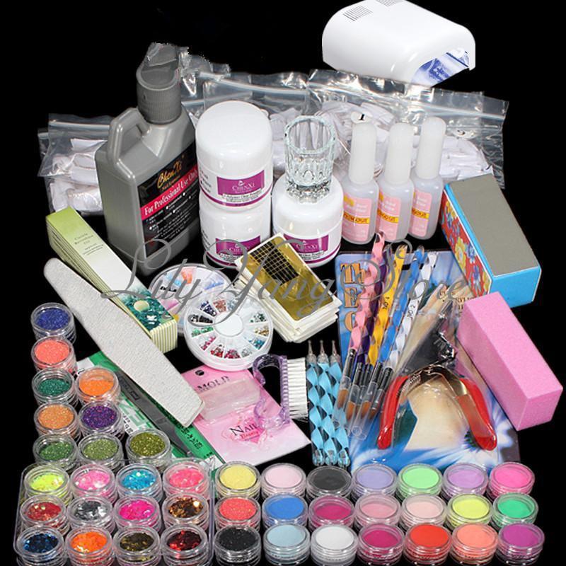 98 set xxxl farbe acryl pulver uv lampe pinsel glitter nail art tip nagelstudio ebay. Black Bedroom Furniture Sets. Home Design Ideas