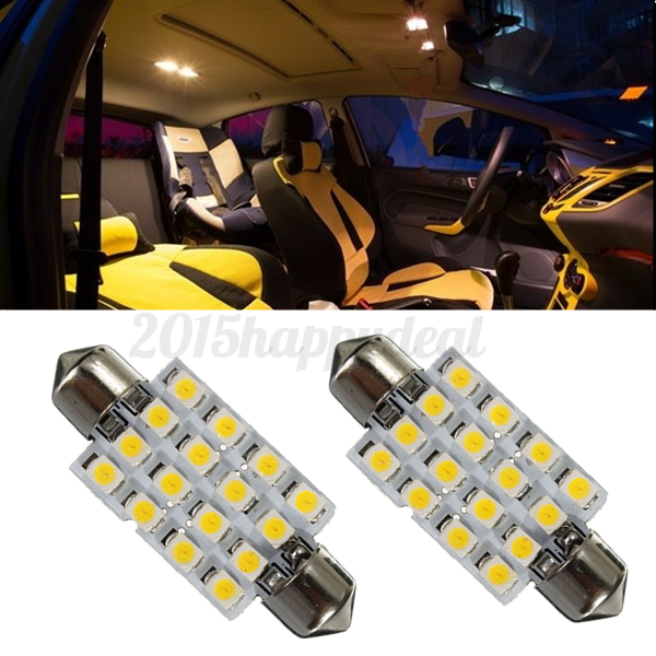 2x 42mm c5w 3528 led 16 smd dome interior festoon bulb reading lights warm white ebay. Black Bedroom Furniture Sets. Home Design Ideas