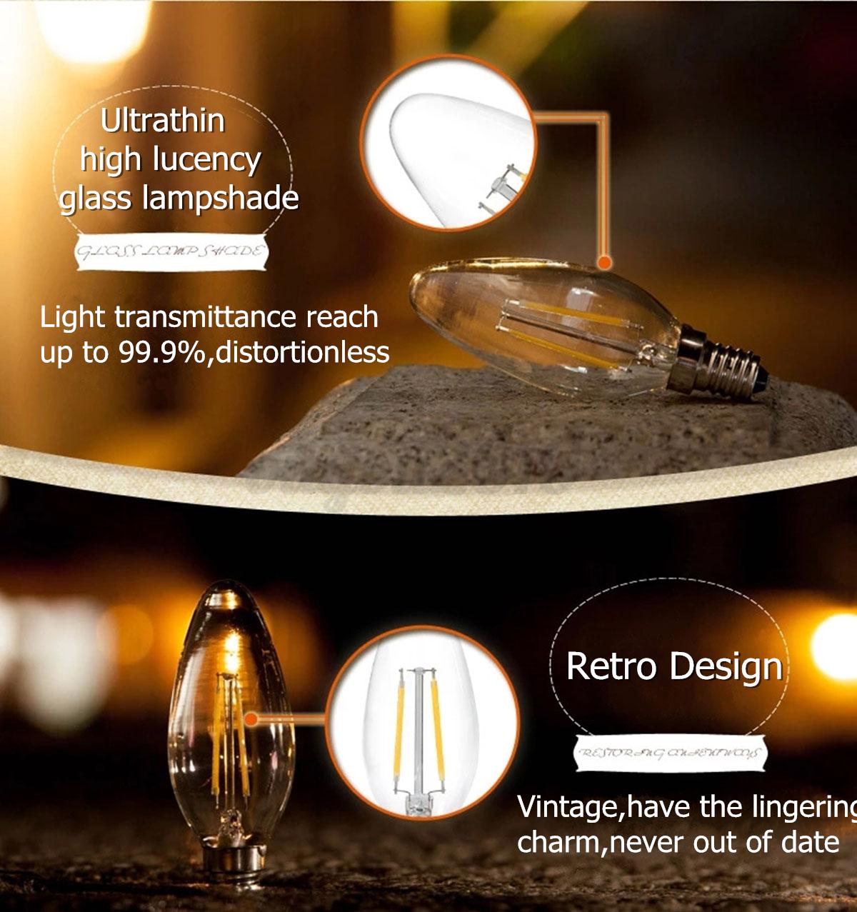 e14 2w 4w edison cob led filament gl hbirne kerzen lampe leuchte vintage licht ebay. Black Bedroom Furniture Sets. Home Design Ideas
