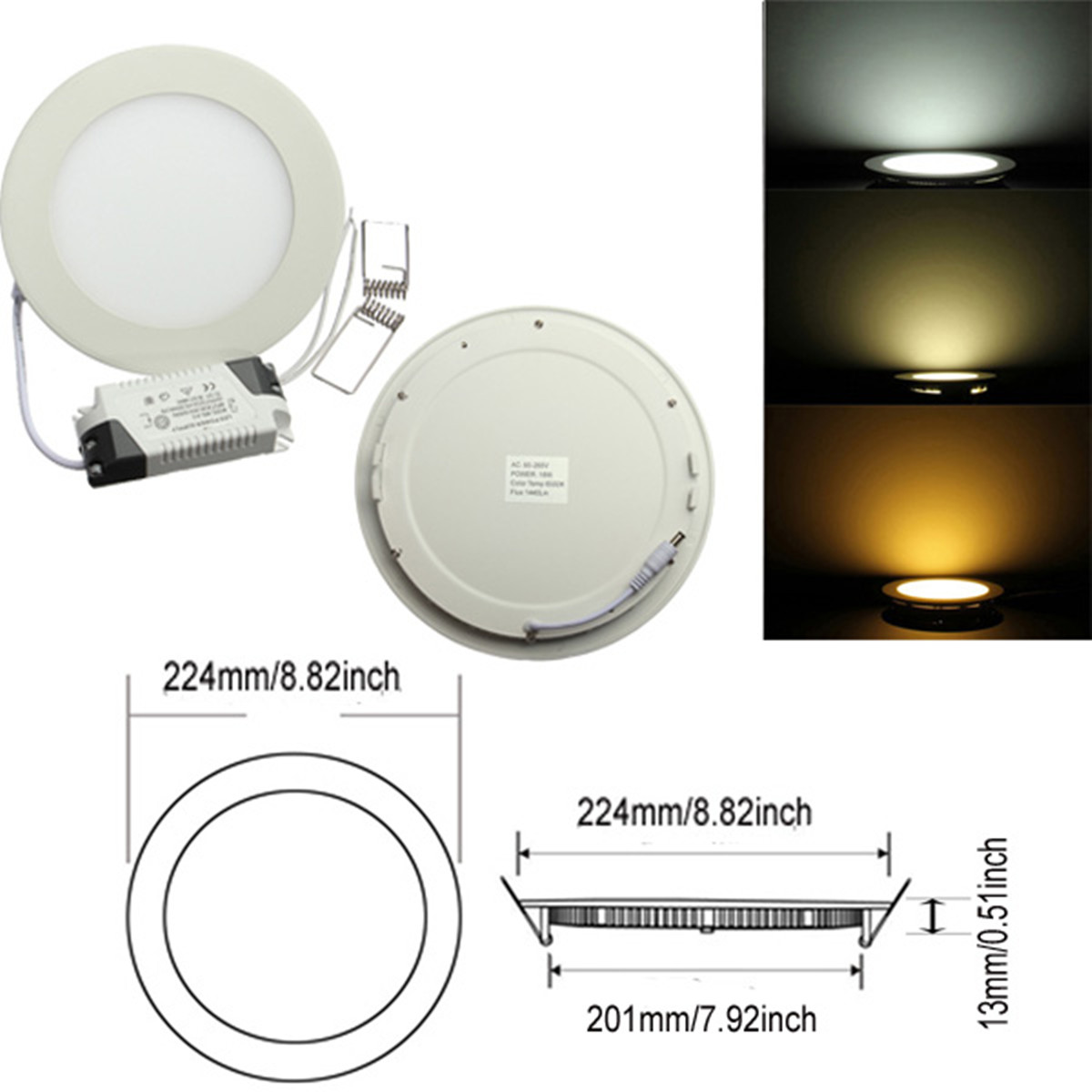 6-9-12-15-18-21W-LED-Lampe-Panel-Dimmable-Encastre-Plafond-Downlight-Carre-Ronde