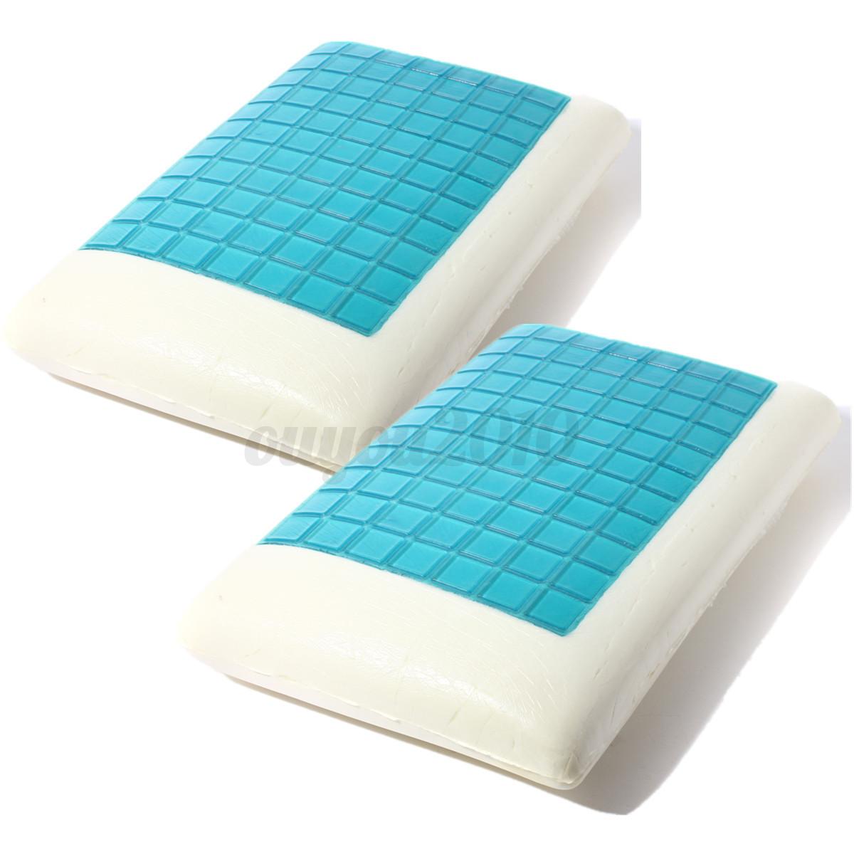 2pcs Premium Solid Memory Foam Gel White Bed Pillows Blue
