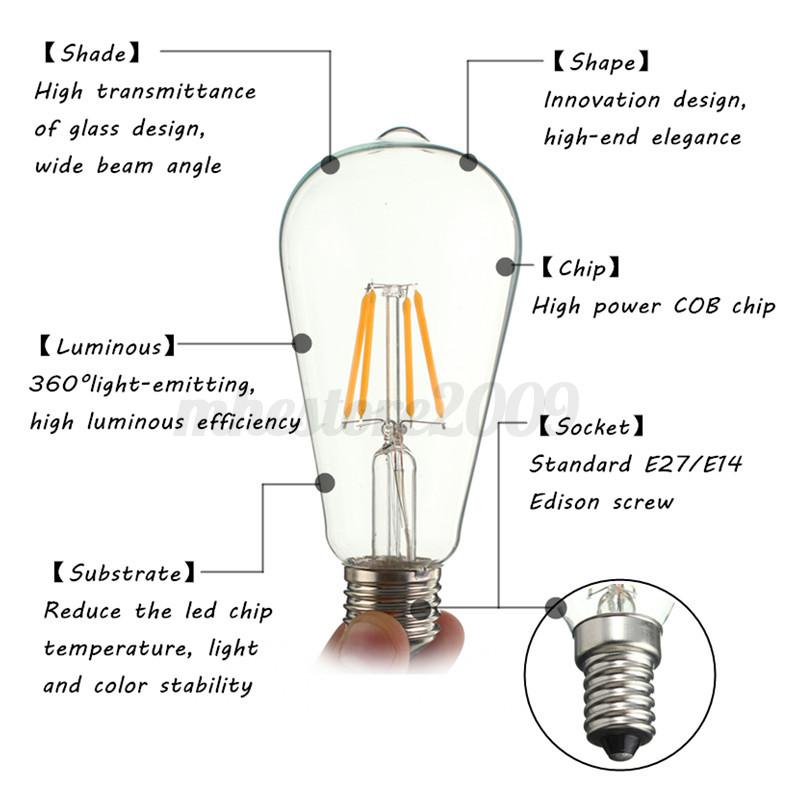 E27 E14 2/3/4/6/8W Edison Retro Vintage Filament COB LED ...