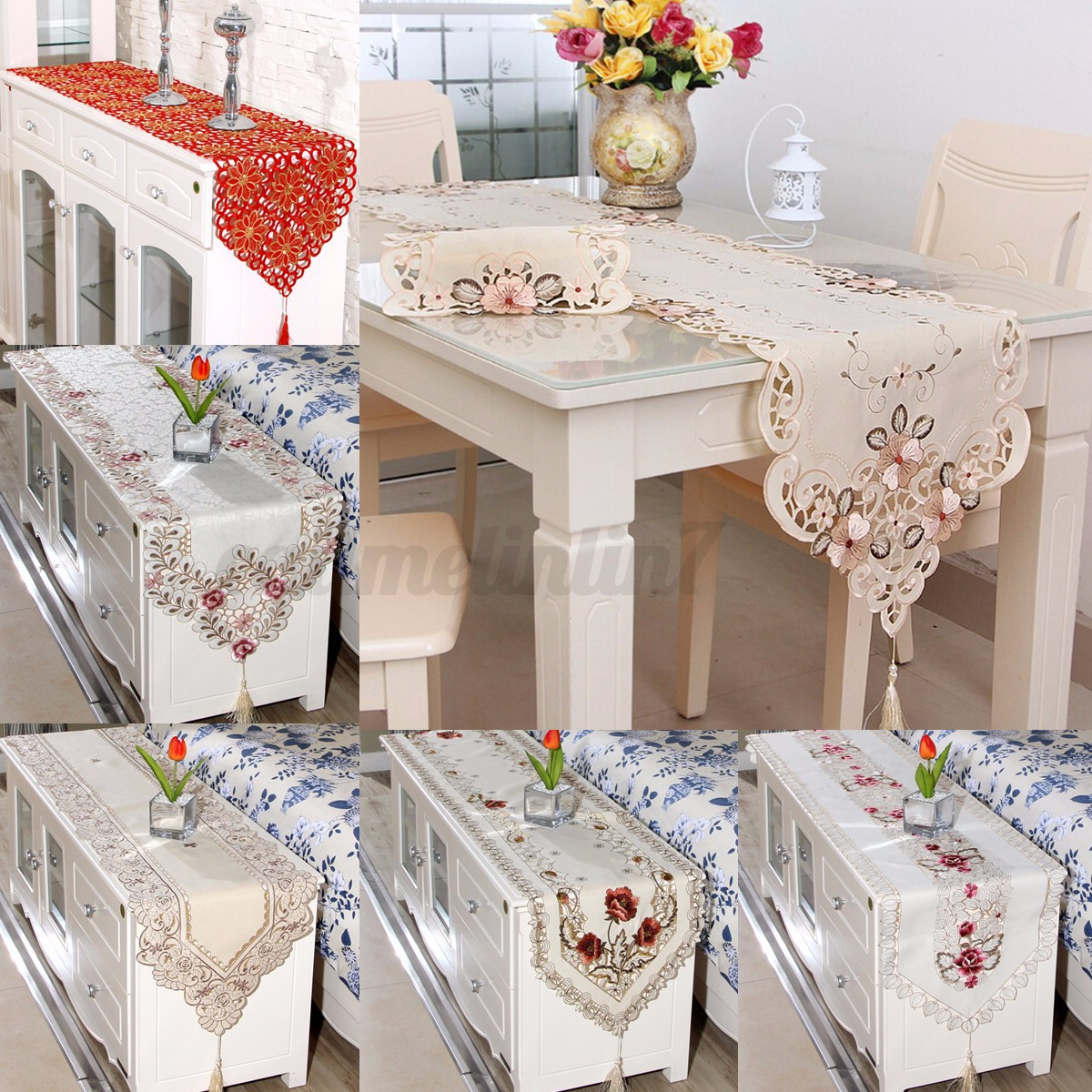 Vintage Floral Embroidery Tassel Edges Table Runner Cover Cloth Xmas ...