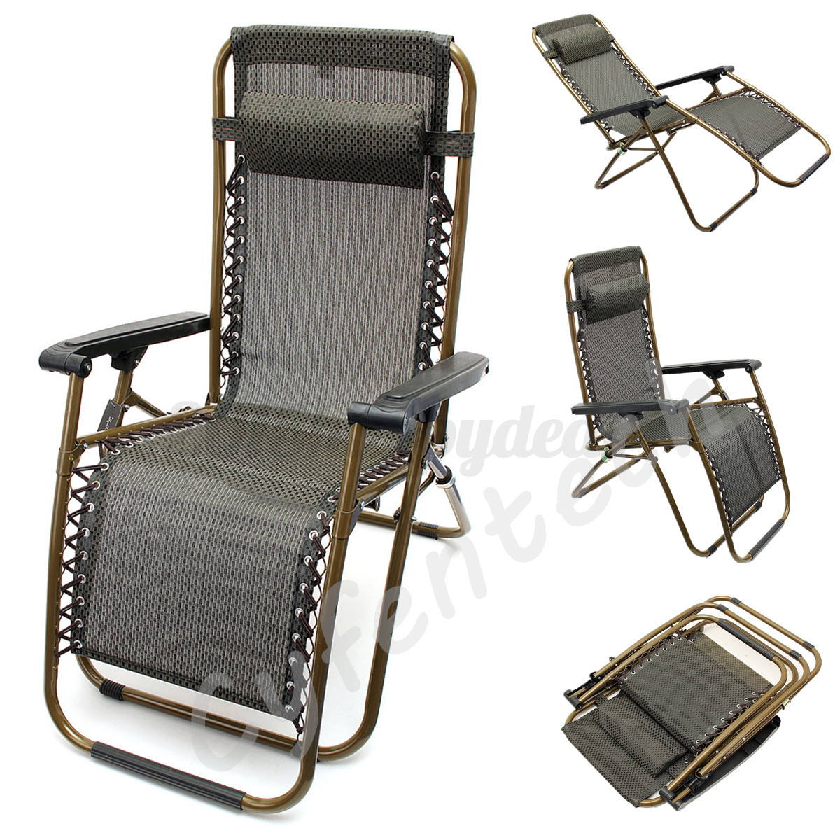 Zero Gravity Reclining Foldable Garden Patio Lounger Recliner Relaxer Chair UK