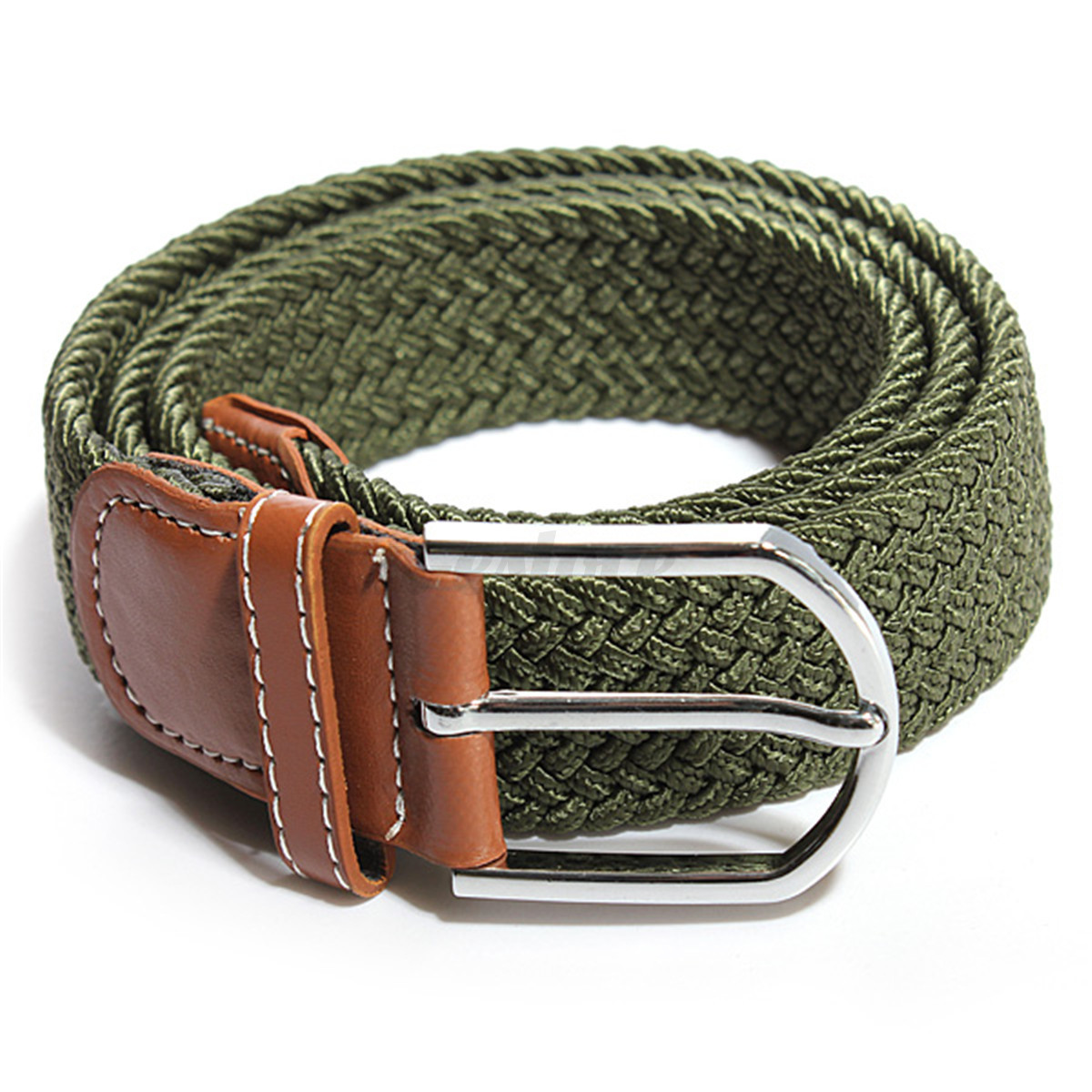 Men Women Braided Elastic Stretch Buckle Casual Woven ...