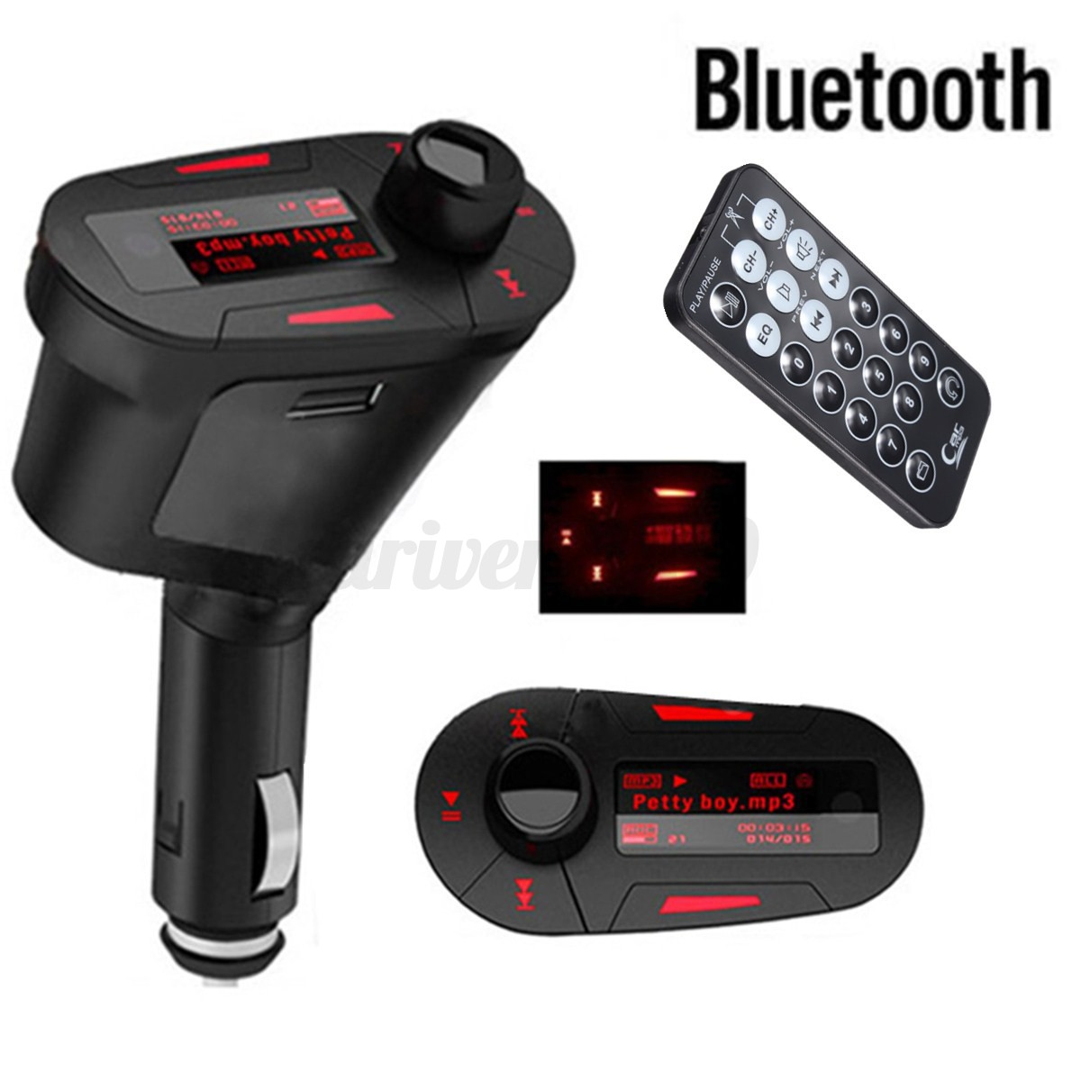 lcd usb charger bluetooth wireless car kit fm transmitter. Black Bedroom Furniture Sets. Home Design Ideas