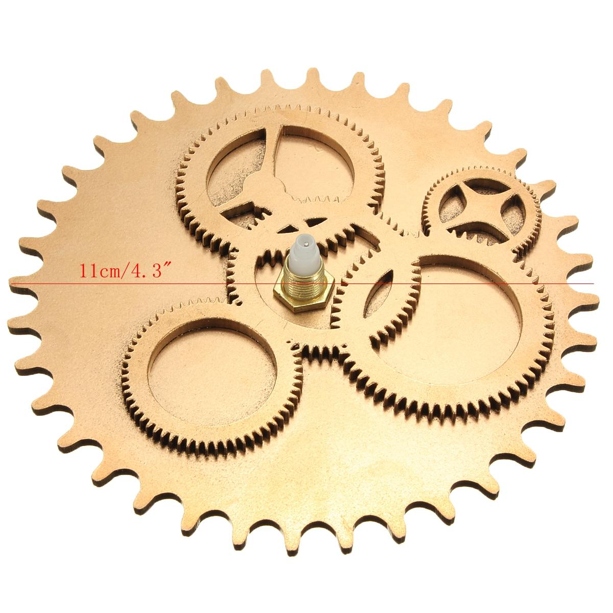 Gold 3D Vintage DIY Mechanism Retro Gear Large Hand Wall Clock Home ...