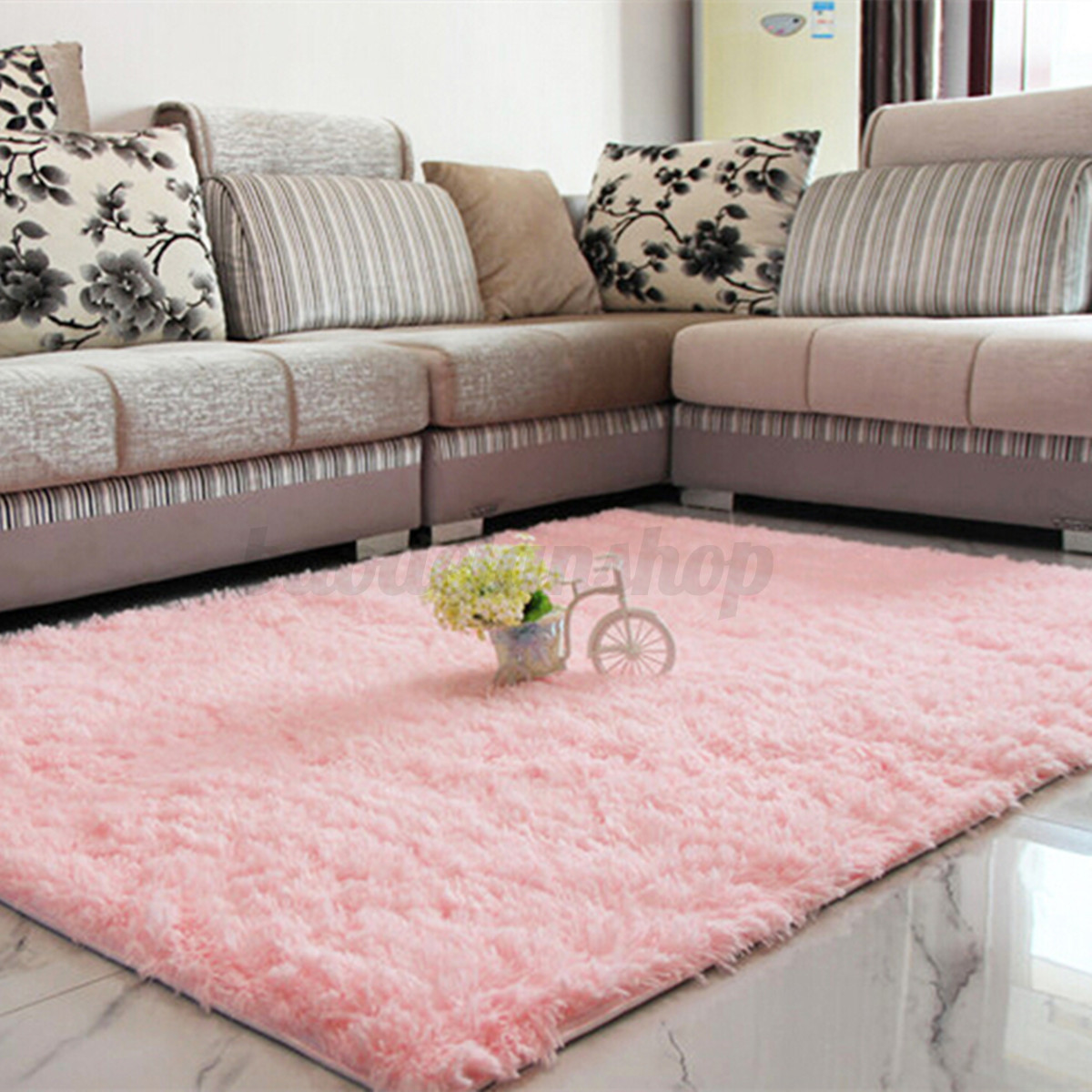Fluffy Rugs Anti Skid Shaggy Area Rug Dining Room Home Room Carpet