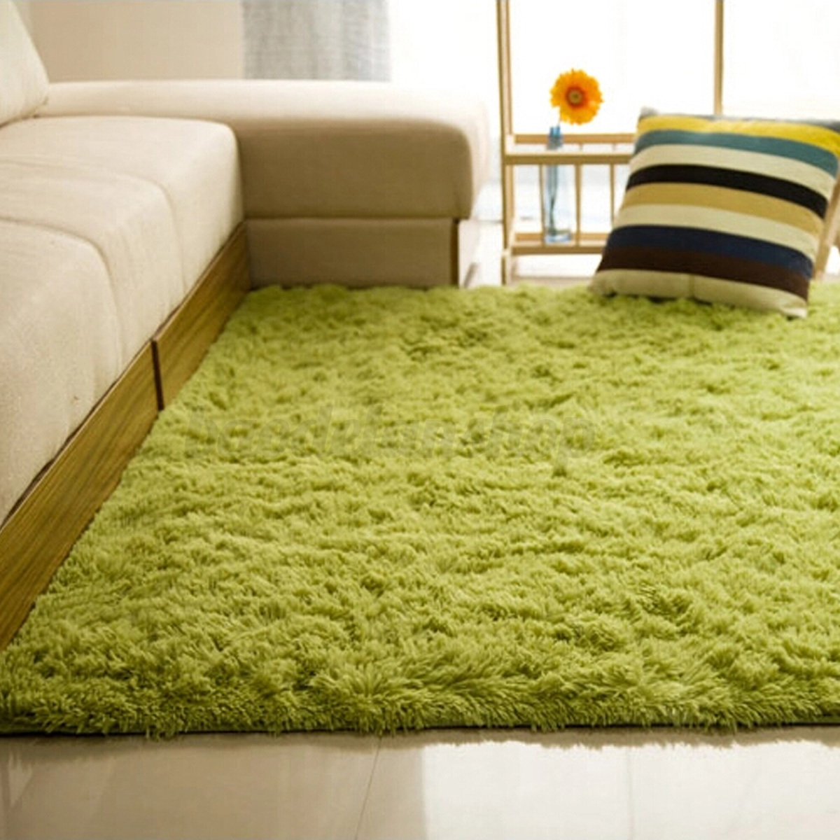 Fluffy Rugs Anti-Skid Shaggy Area Rug Dining Room Home ...