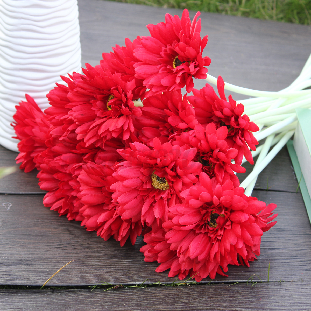 10 Heads Silk Artificial Gerbera Daisy Flowers Bouquet