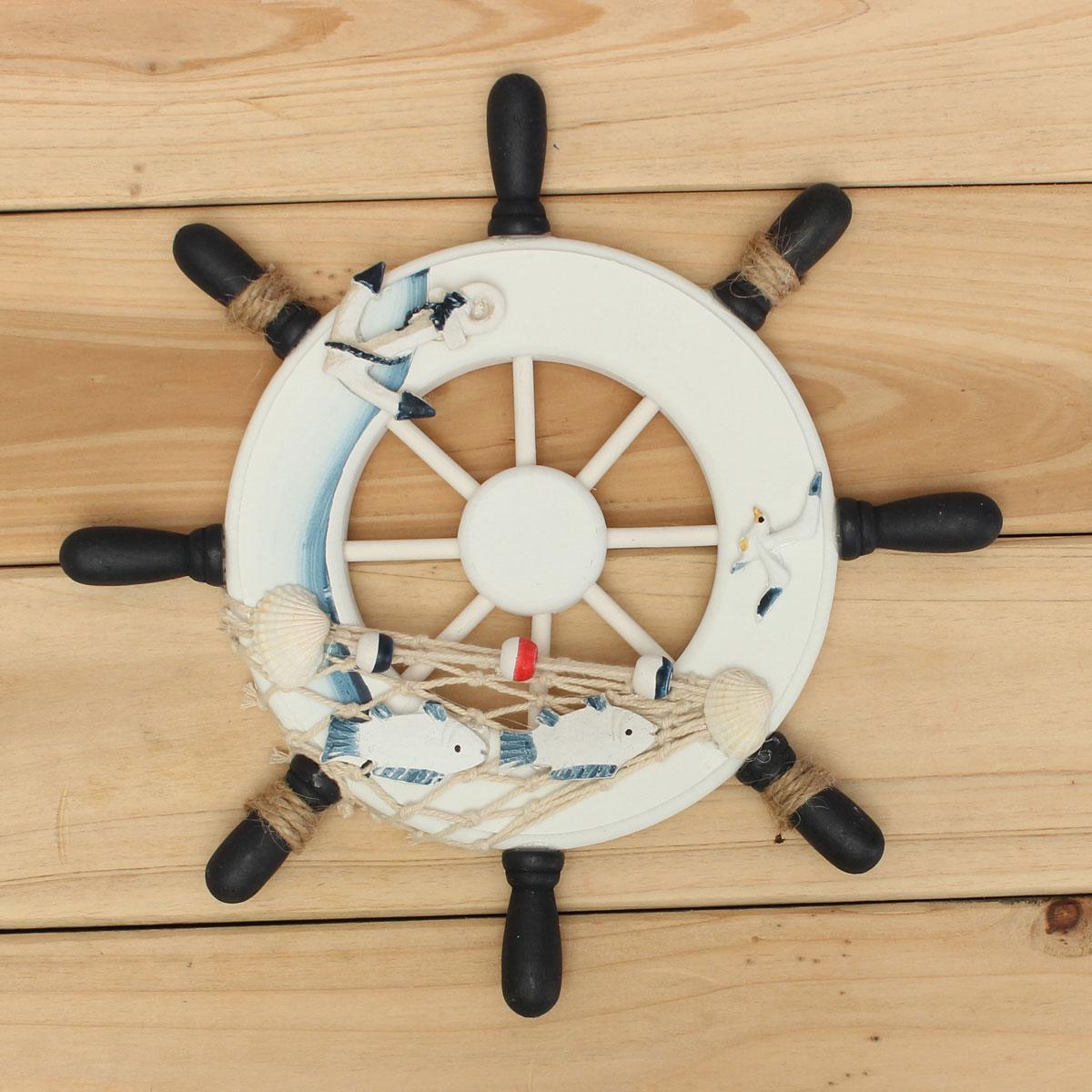 Wood Boat Ship Wheel Fishing Nautical Beach Home