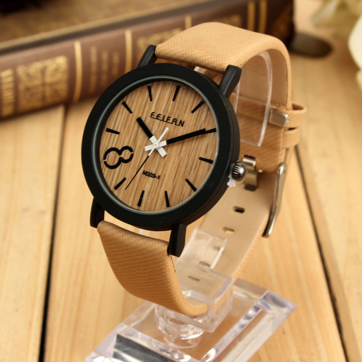 Unisex-Fashion-Vintage-Wooden-Color-Leather-Strap-Quartz-