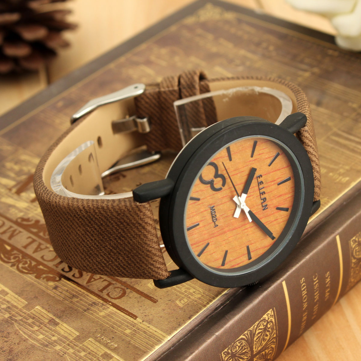 Unisex Fashion Vintage Wooden Color Leather Strap Quartz Round Dial Wrist Watch | eBay