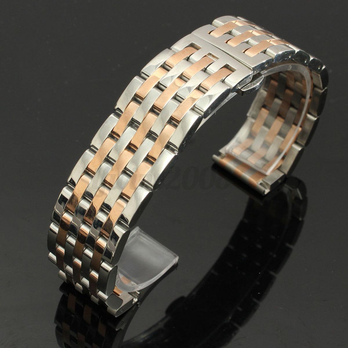 18-20-22-24mm-Bracelet-de-Montre-Boucle-Deployant-acier-inoxydable-Watch-Bande miniature 13