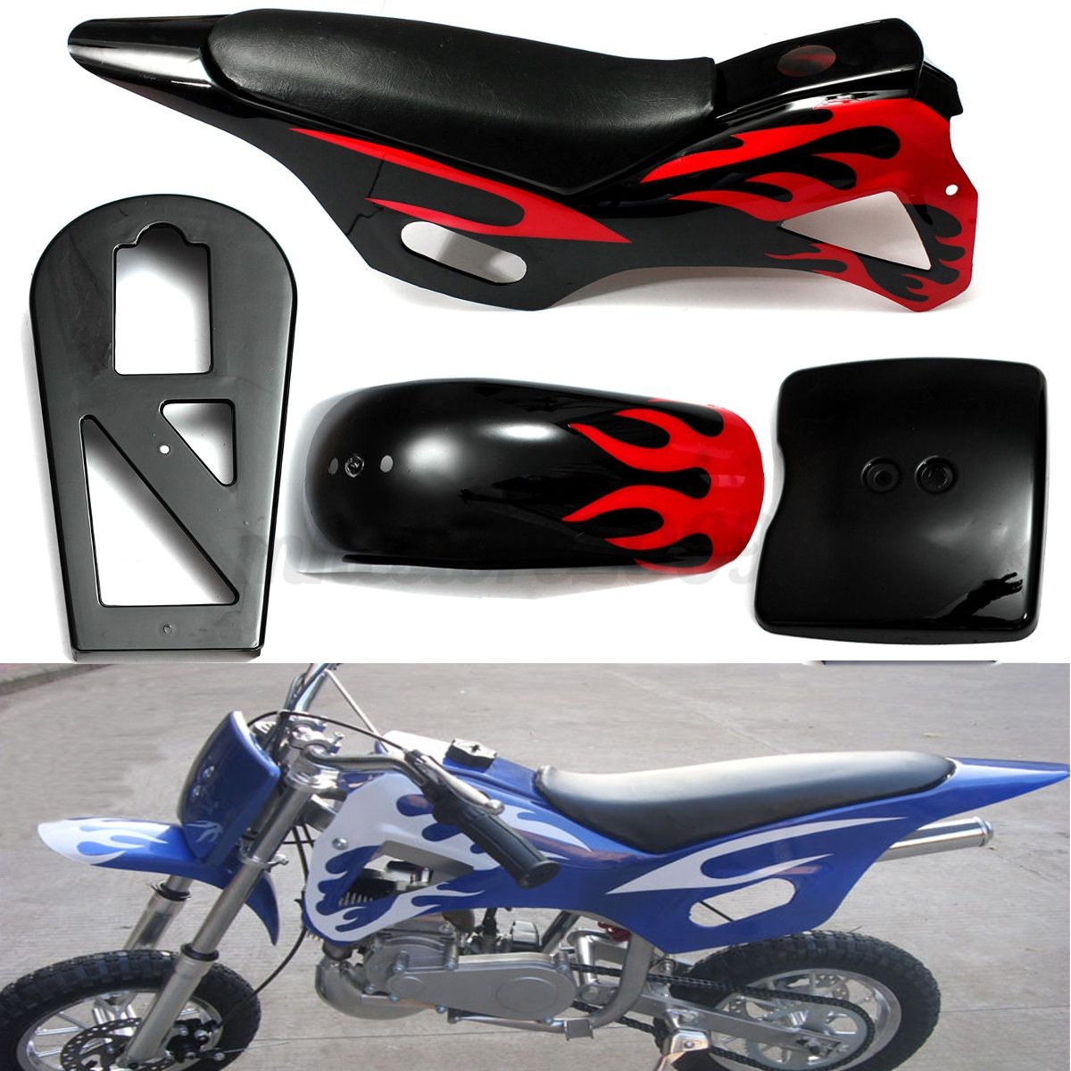 49cc mini motor dirt bike atv fairing plastics kit 5 piece with seat black red ebay. Black Bedroom Furniture Sets. Home Design Ideas