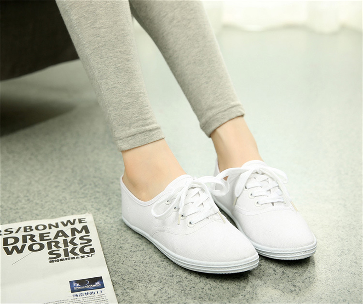 Classic Womens Canvas Casual Sneakers Tennis Flats Ladies Plimsoll ... 422852f474