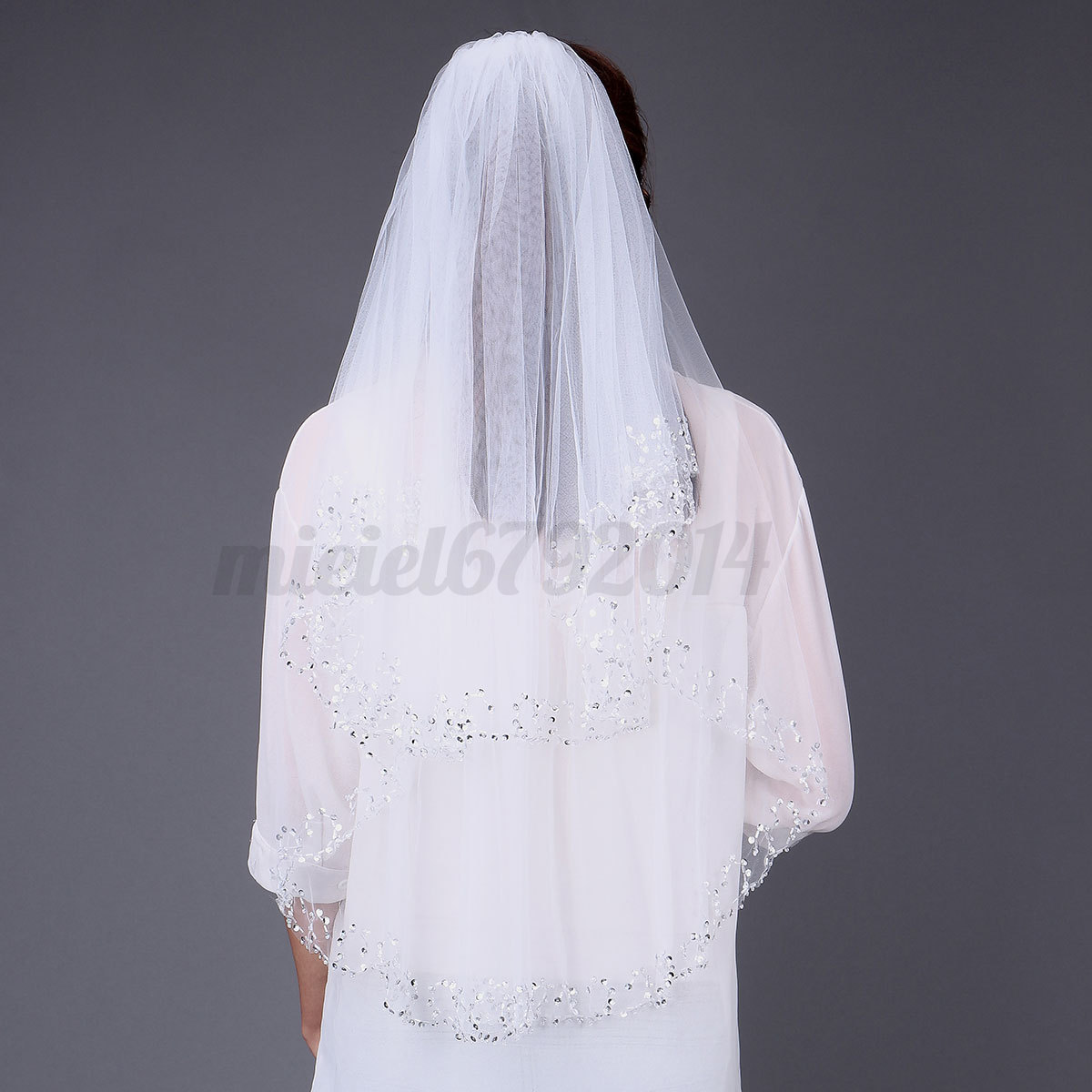 2t white ivory wedding bridal veil with comb vail