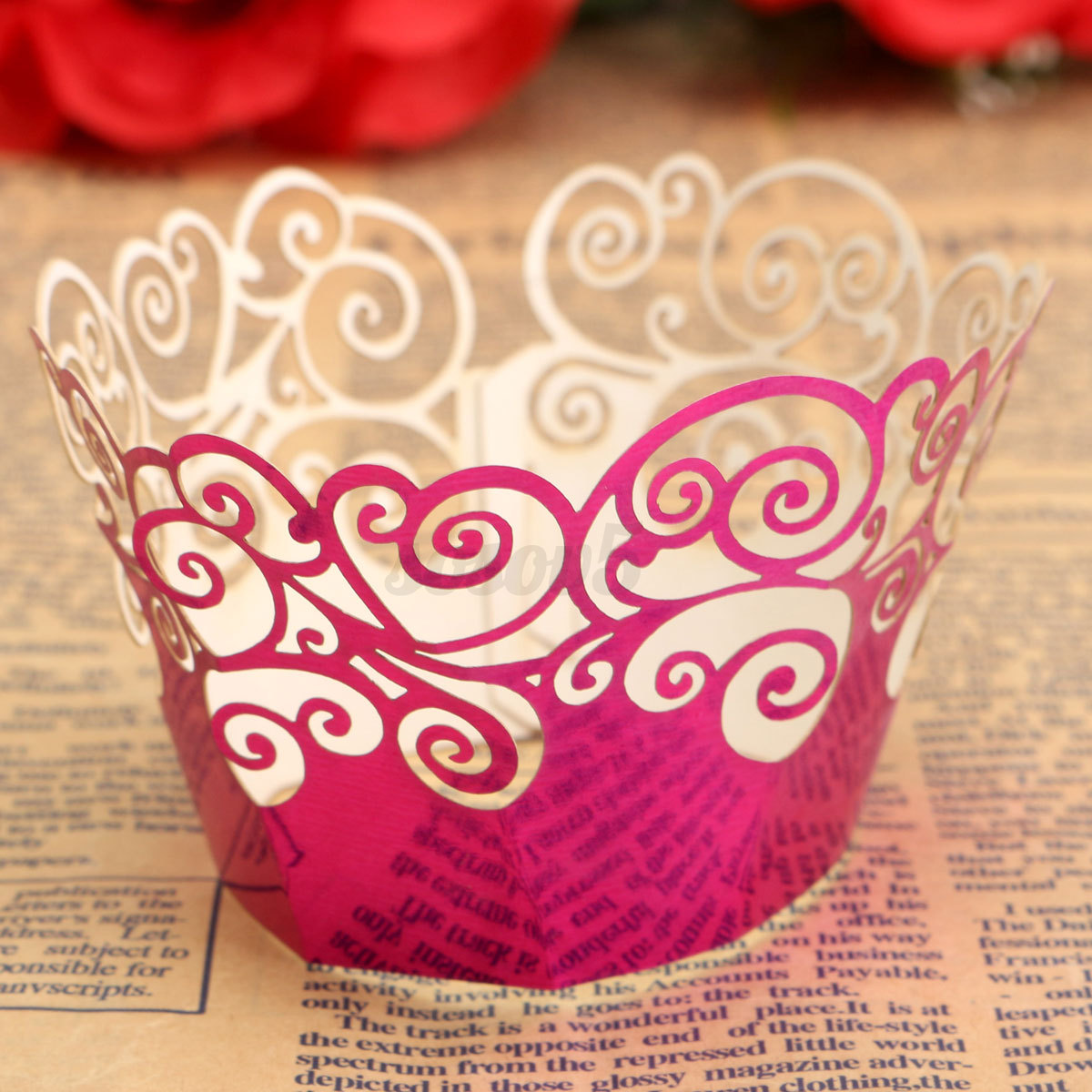 12/24PCS Lace Filigree Wedding Cupcake Wrapper Baking Cake Cups ...