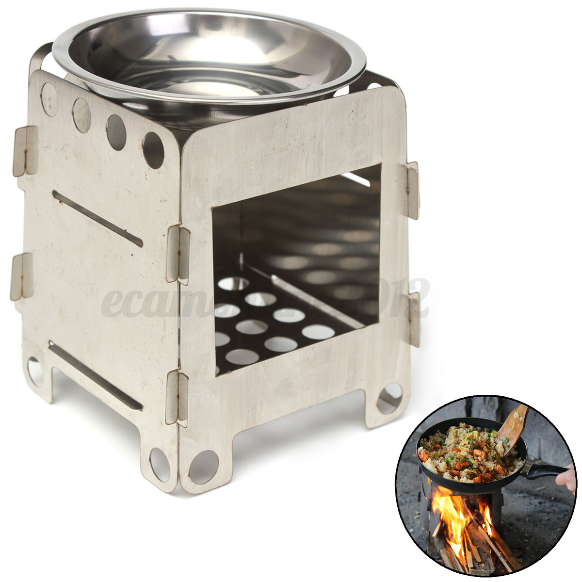 Portable stainless steel folding wood pocket alcohol stove for Outdoor wood cooking stove