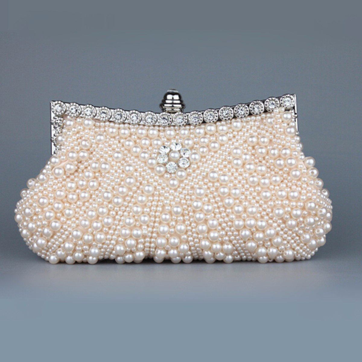 Women Creamy Ivory Wedding Bridal Part Clutch Pearl Bag Party ...