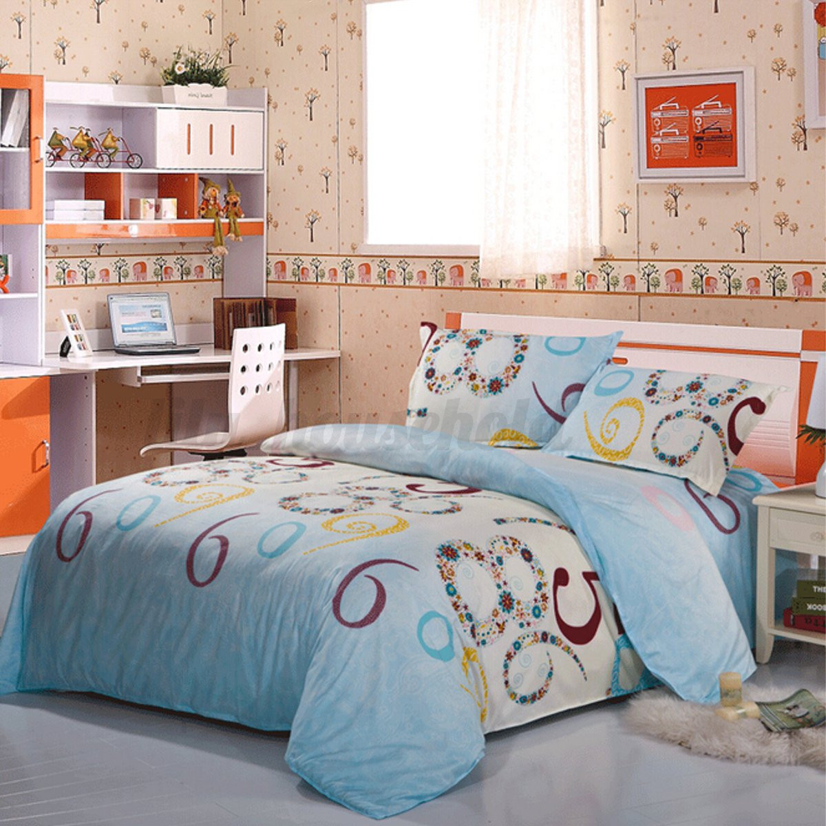 3 4 tlg bettw sche bettgarnitur baumwolle kissen decke 150 x 200 200 x 230cm ebay. Black Bedroom Furniture Sets. Home Design Ideas