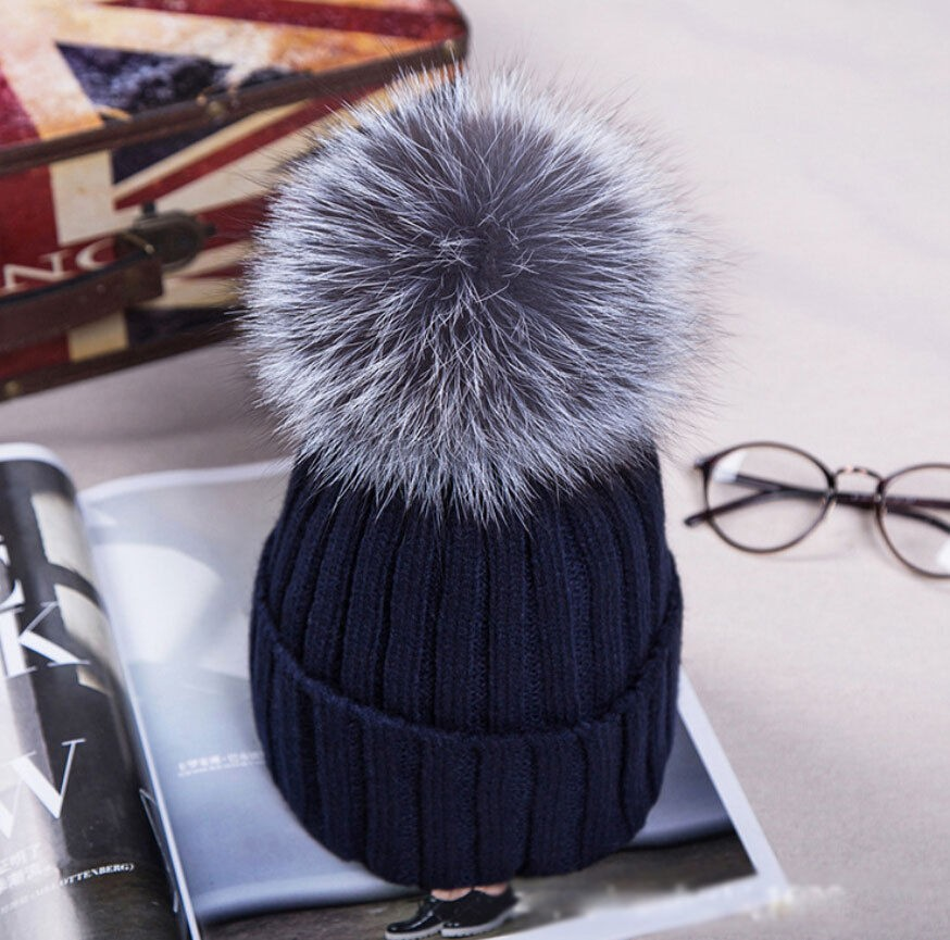 76c6caf720d UK Women XL Artificial Fur 12cm Pom Pom Knitted Hat Beanie Bobble Unisex  Warm