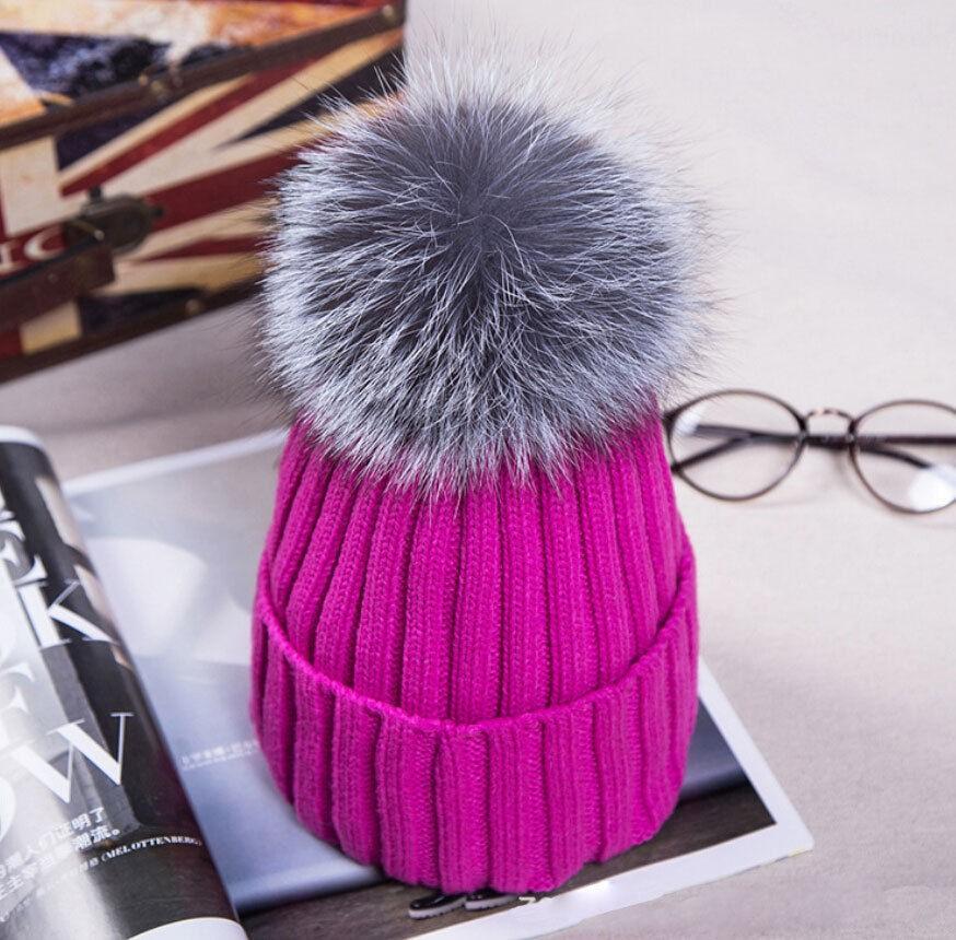 UK Women XL Artificial Fur 12cm Pom Pom Knitted Hat Beanie Bobble Unisex  Warm  9ed3a346a5f