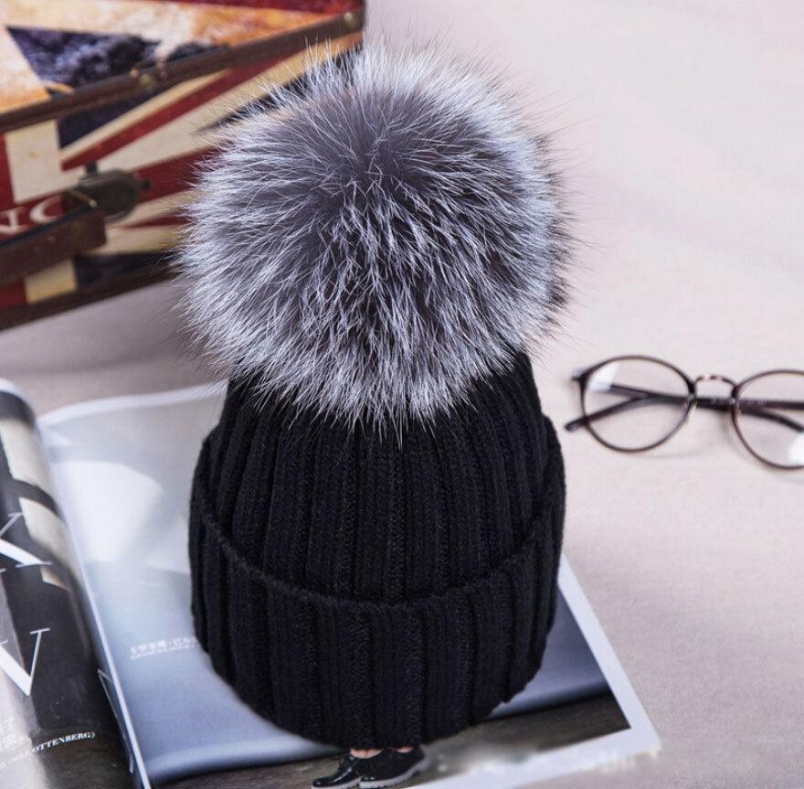 UK Women XL Artificial Fur 12cm Pom Pom Knitted Hat Beanie Bobble Unisex  12d4aa58563