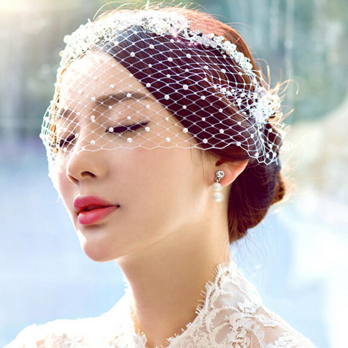 Pearl Face Veil Wedding Bridal Birdcage Fascinator Evening Veils ... 852df6b88a2