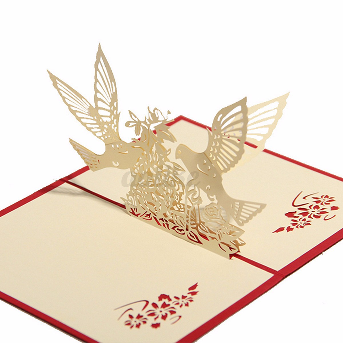 Happy birthday wedding anniversary invitation 3d pop up for Kirigami christmas card