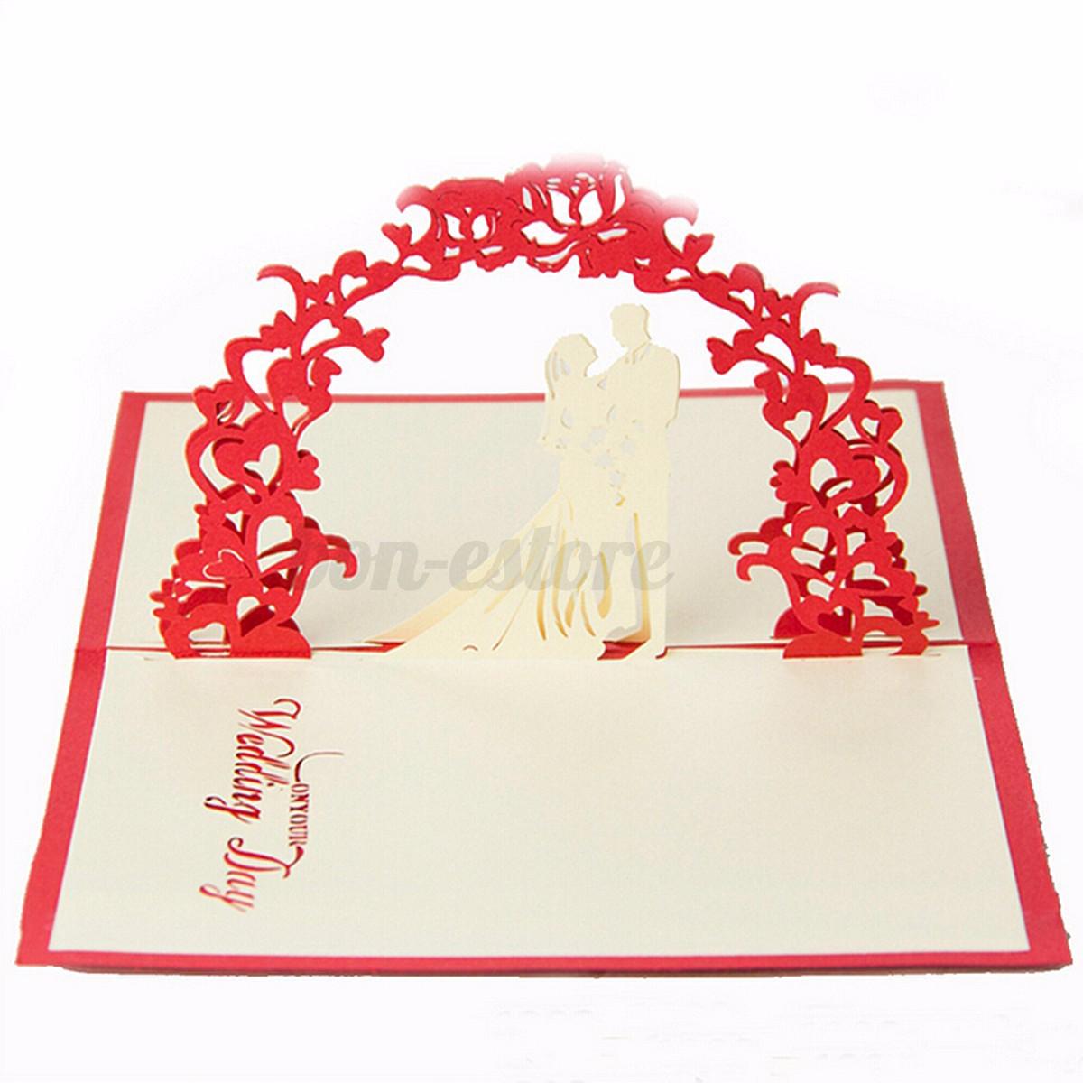 D pop up wedding invitation greeting card flower happy