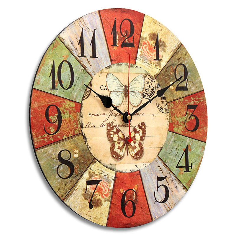 34cm style ancienne grande horloge pendule murale maison cuisine ronde papillon ebay. Black Bedroom Furniture Sets. Home Design Ideas