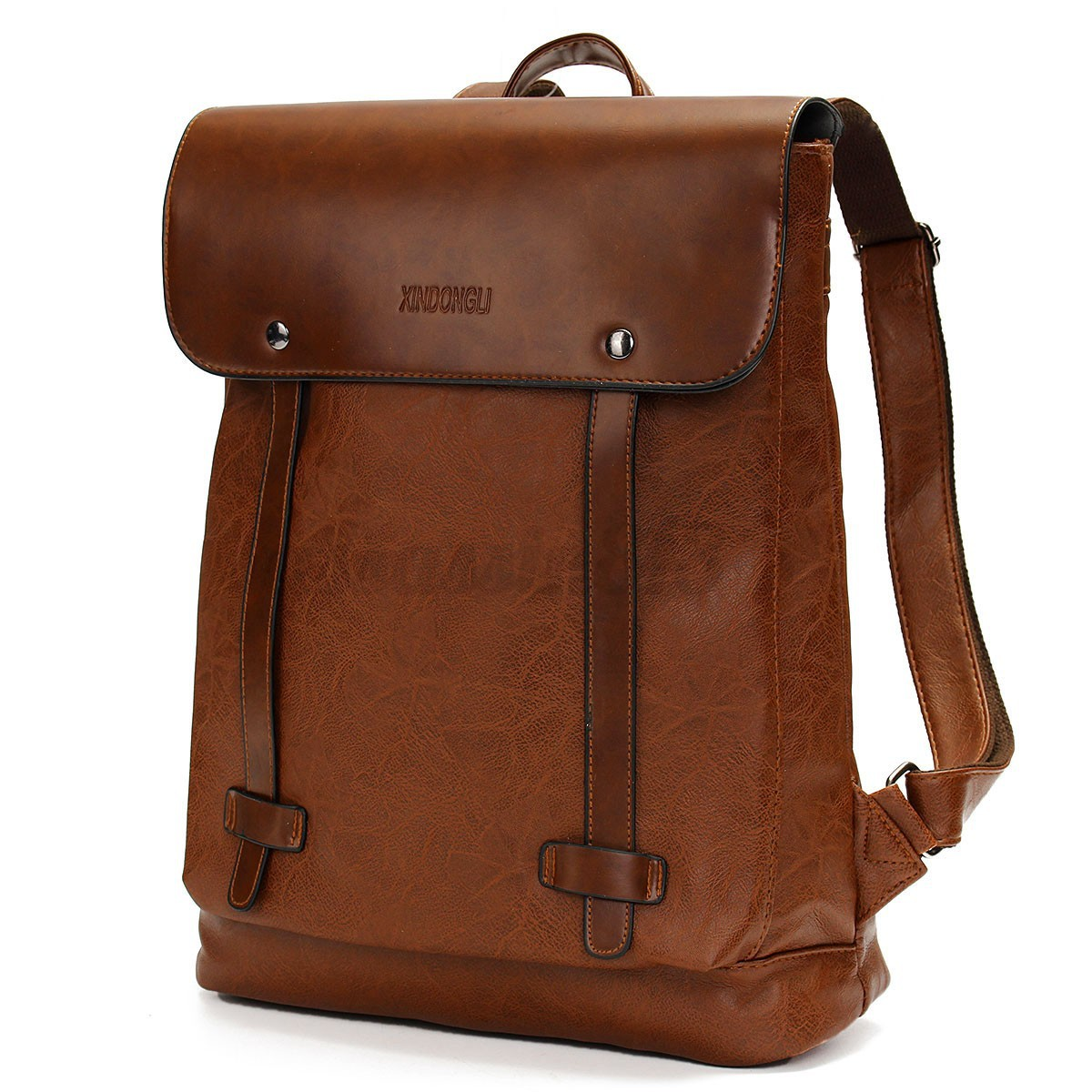 Men Women Vintage Leather Backpack Messenger School Bag ...
